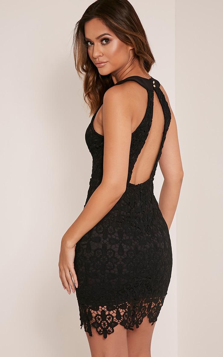 Leliana Black Crochet Lace Neck Detail Bodycon Dress 1