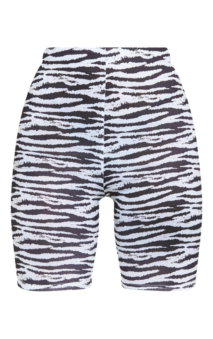 Monochrome Zebra Print Bike Shorts 6