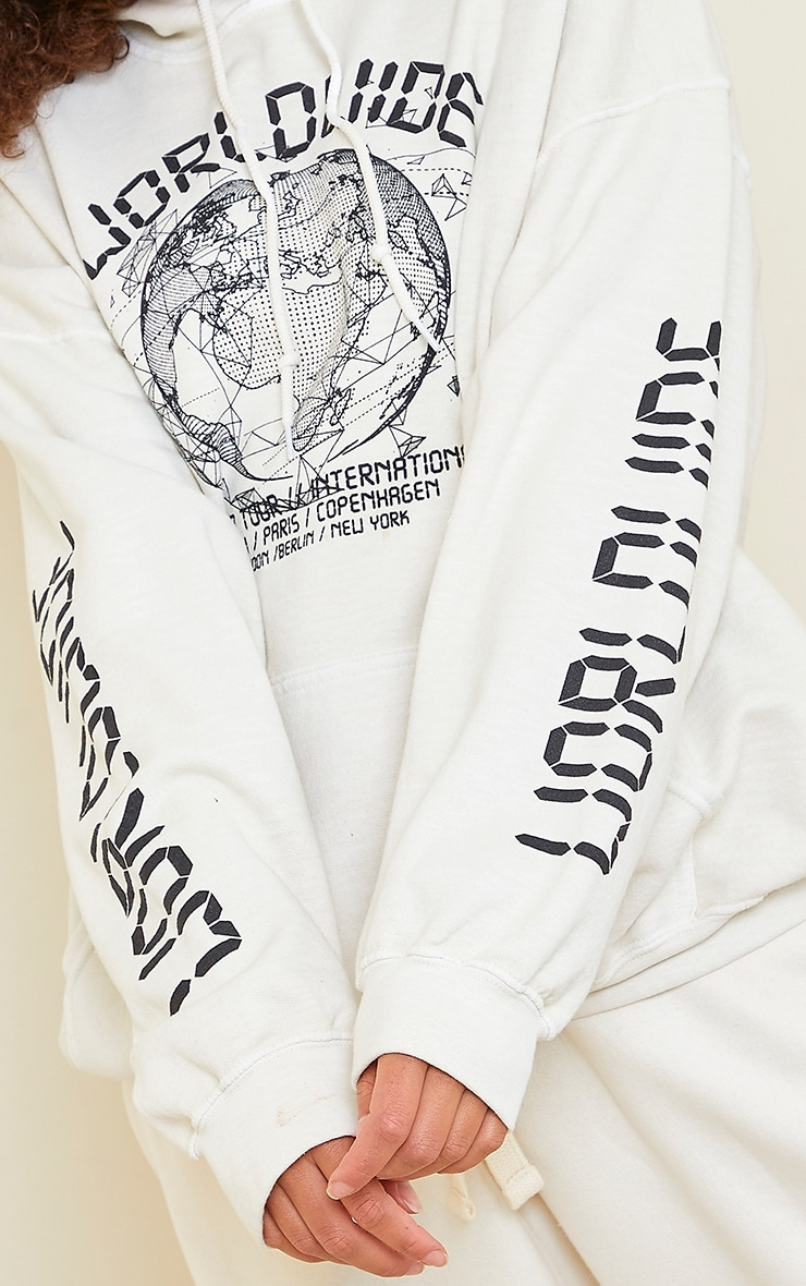 Cream Worldwide Slogan Oversized Hoodie 4