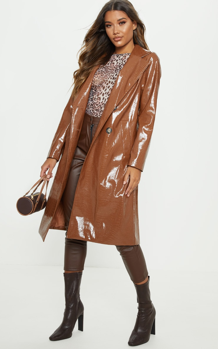 Tan Croc PU Trench 1