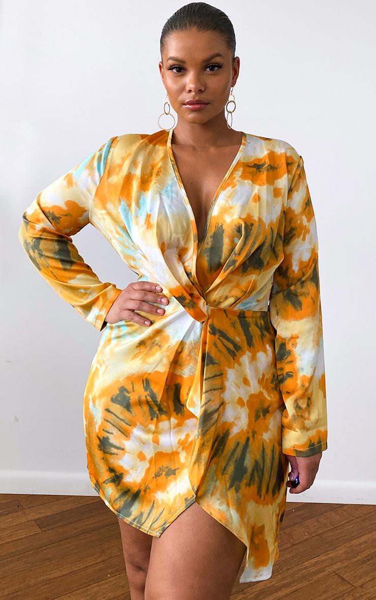 Plus Orange Tie Dye Printed Long Sleeve Wrap Dress 1