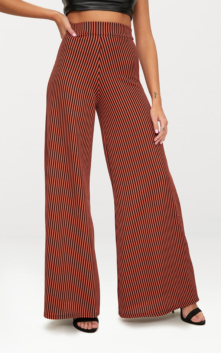 Rust Ribbed Pinstripe Wide Leg Trousers 2