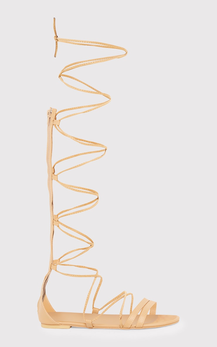 Lorna Nude Over The Knee Lace Up Sandals 2