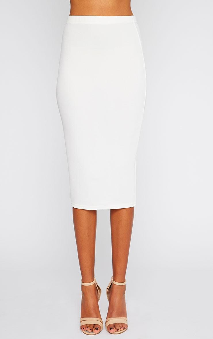 Alina Cream Crepe Midi Skirt 5