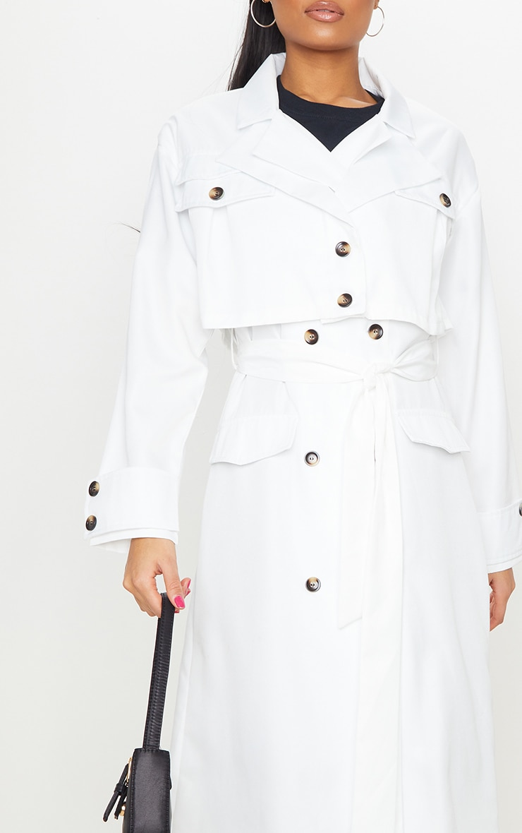 White Oversized Belted Trench Coat 4