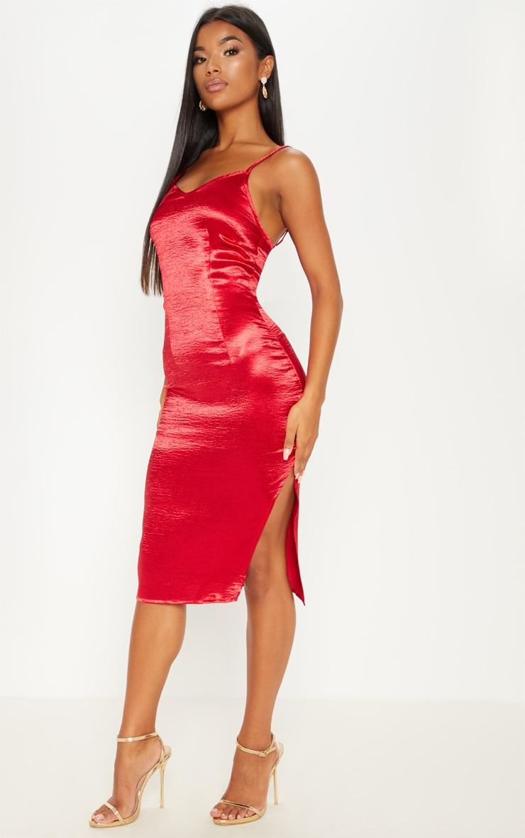 Red Satin Slip Midi Dress 1