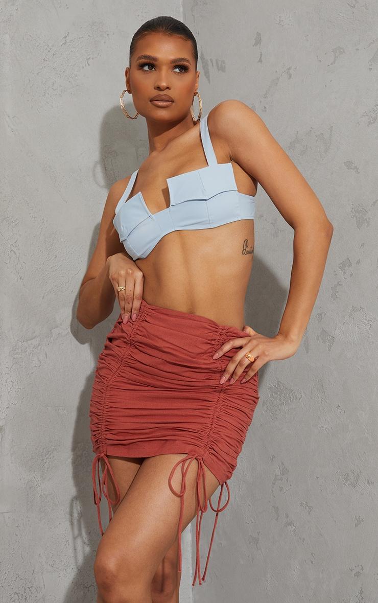 Burnt Orange Linen Look Ruched Detailing Mini Skirt 4