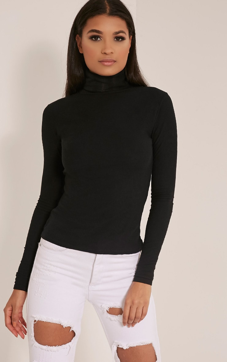 Basic Black Roll Neck Top 1