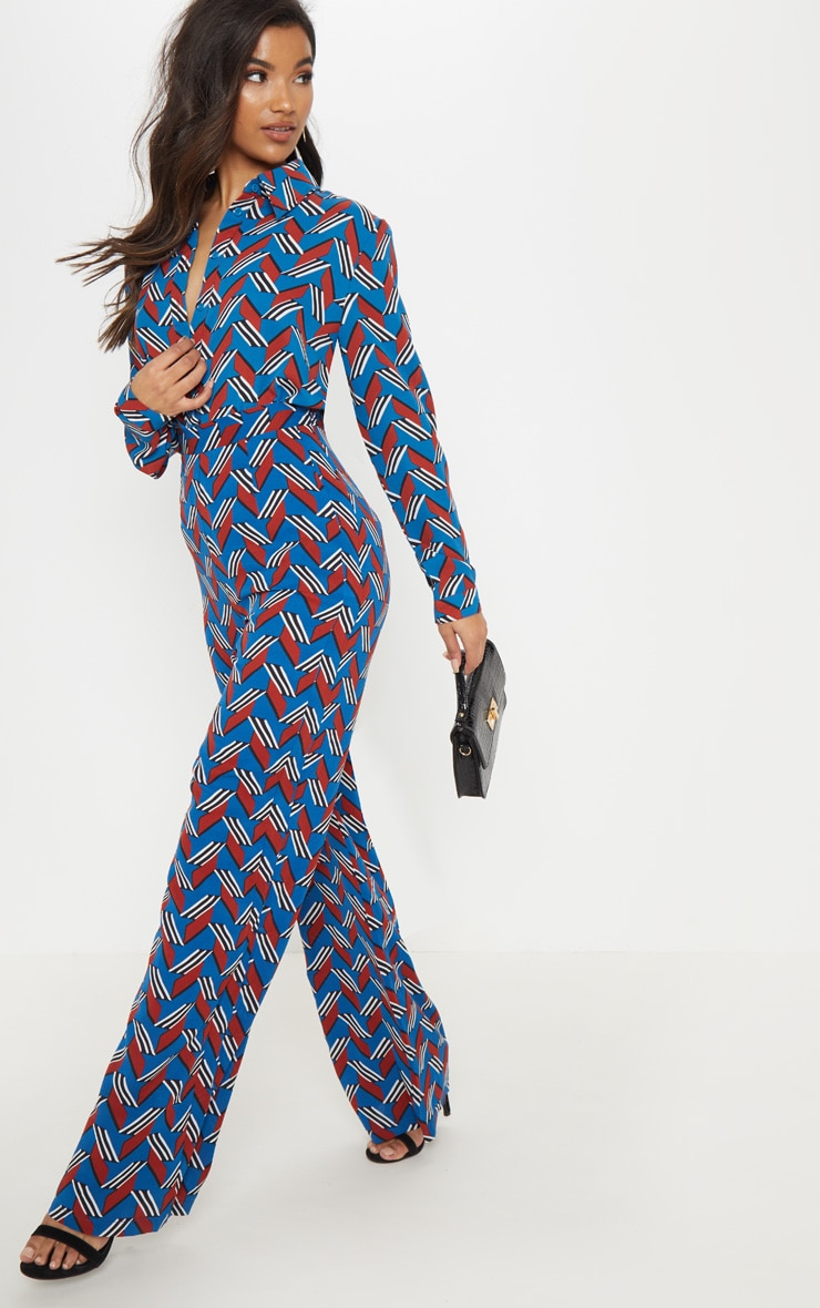 Blue Chevron Colourblock Wide Leg Trouser