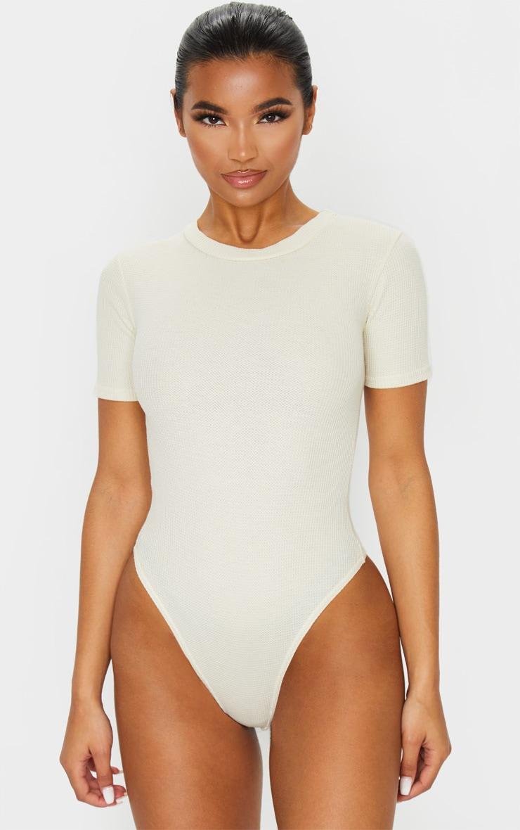 Sand Waffle Knit Short Sleeve Bodysuit 2