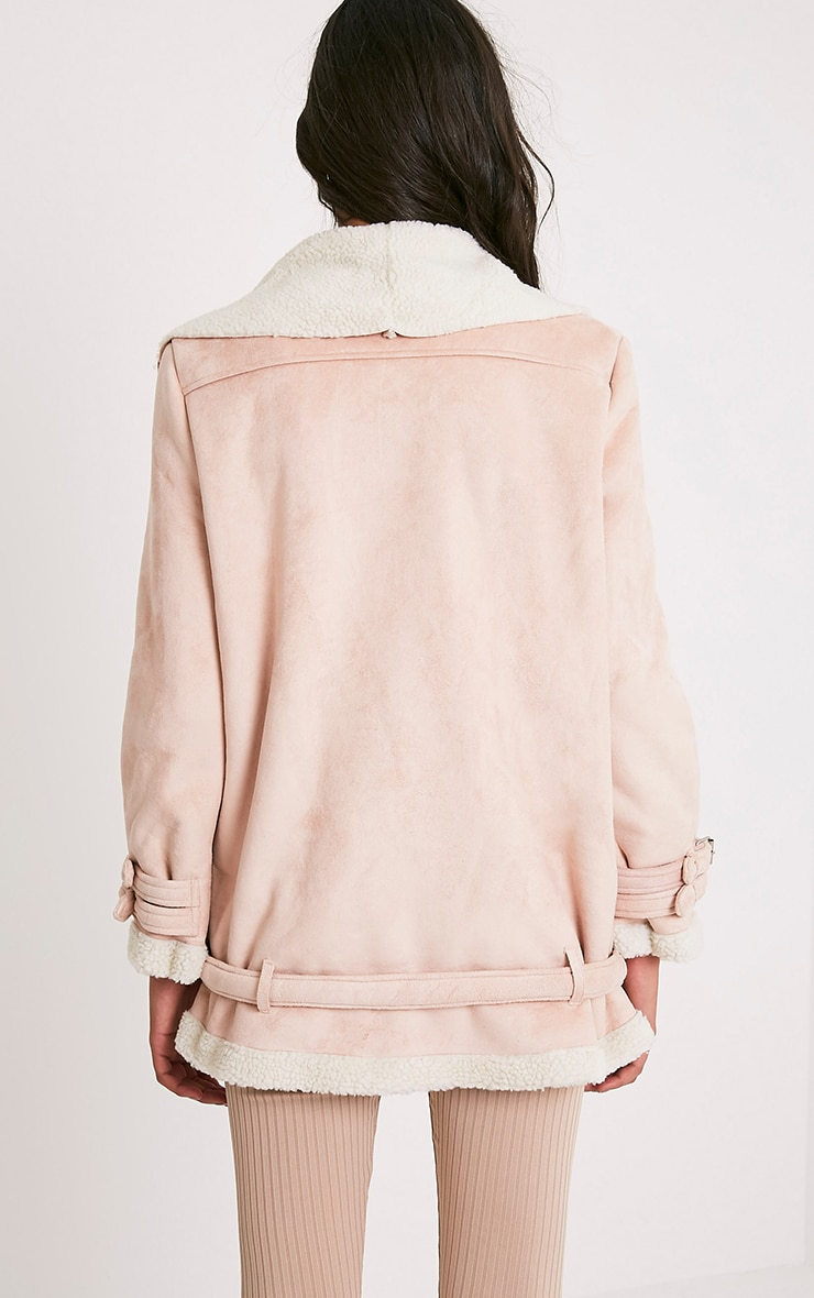 Simmi Blush Faux Suede Oversized Aviator Jacket 2