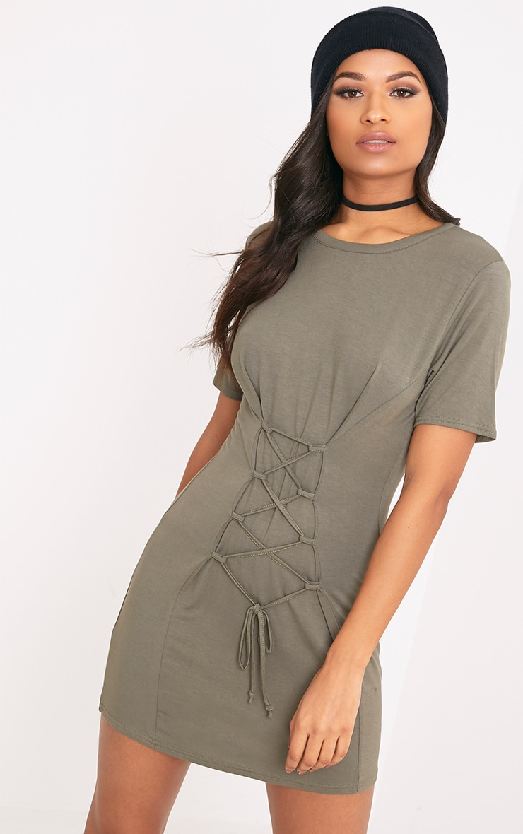Benayah Khaki Jersey Corset Detail T Shirt Dress 1