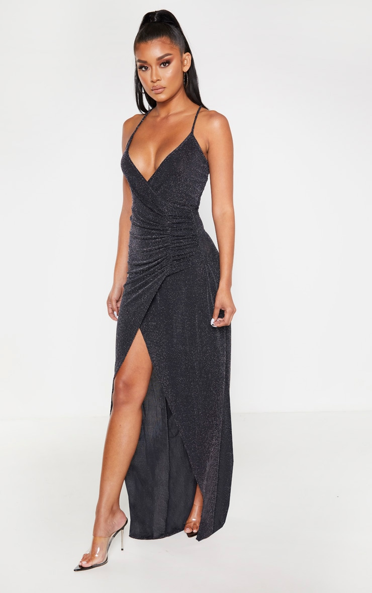 Black Strappy Textured Glitter Plunge Ruched Maxi Dress 4