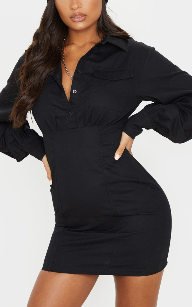 Black Pocket Front Long Sleeve Bodycon Shirt Dress 5