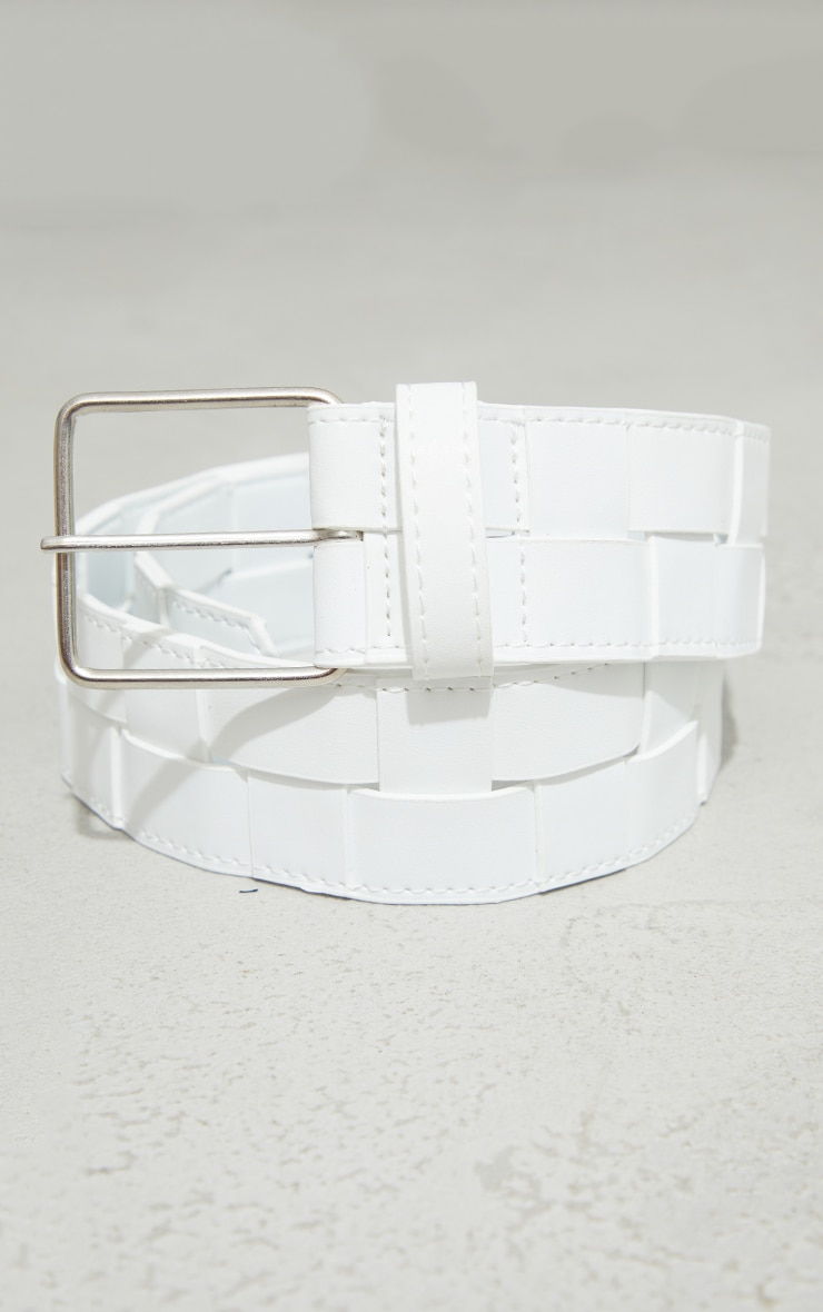 White Woven Chunky Waist Belt 2