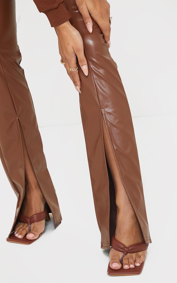 Camel Faux Leather Seam Detail Split Hem Pants 4