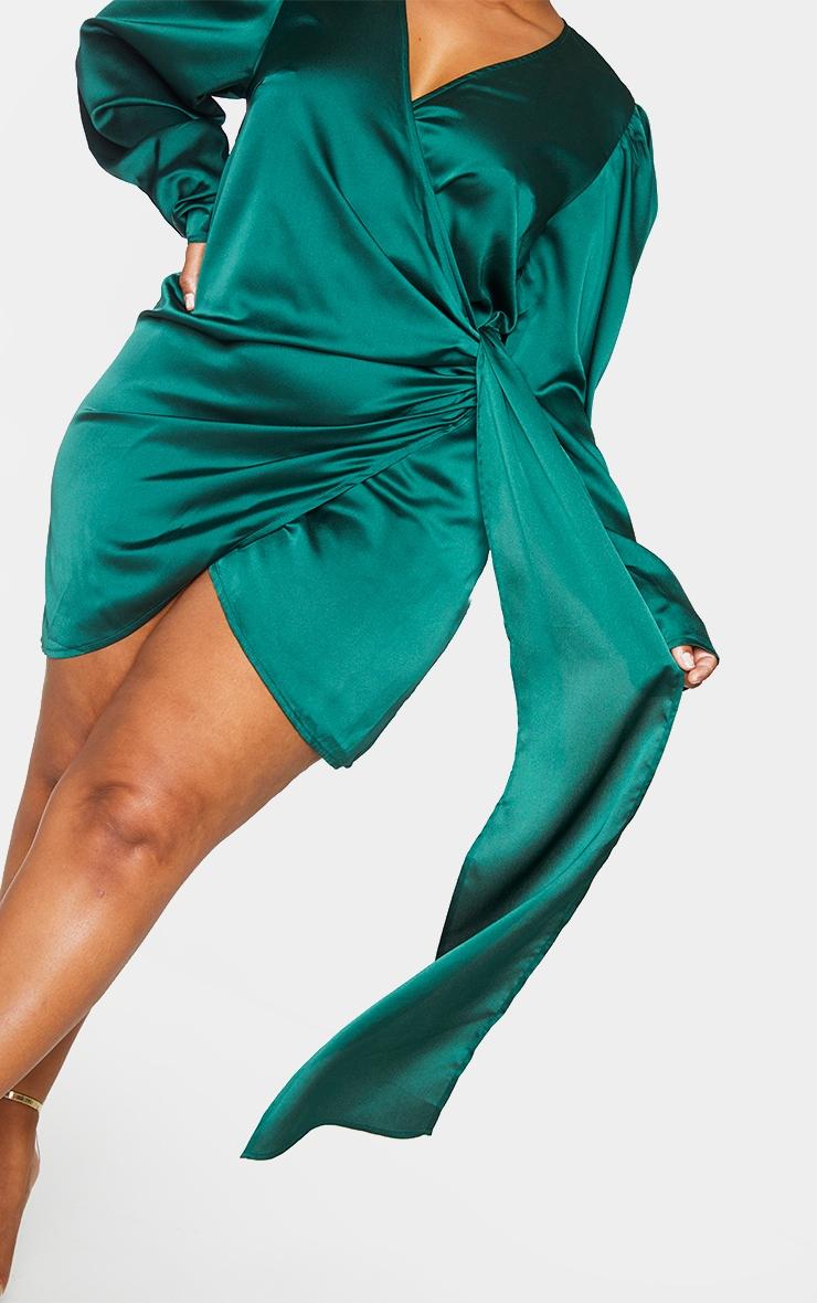 Plus Emerald Green Satin Puff Sleeve Wrap Dress 4