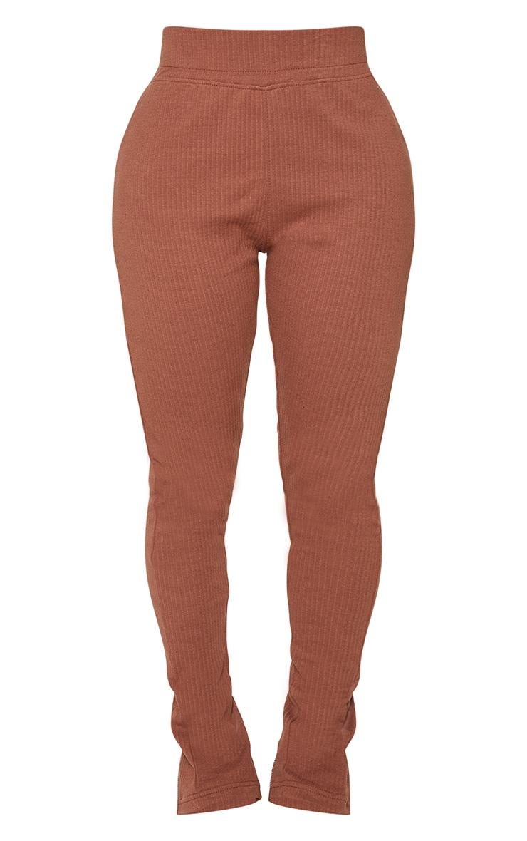 Shape Soft Brown Rib Zip Hem Leggings 5