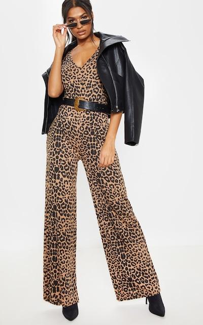 Beige Leopard Print Jersey Wide Leg Jumpsuit 28790cd8b