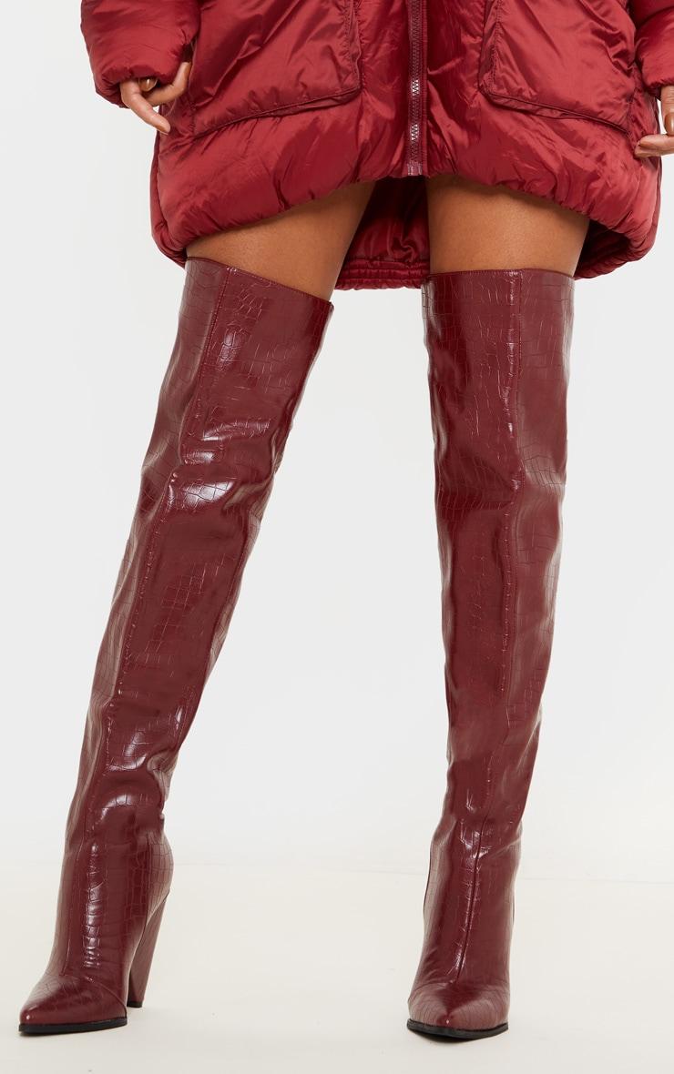 Burgundy Thigh High Cone Heel Boot 1