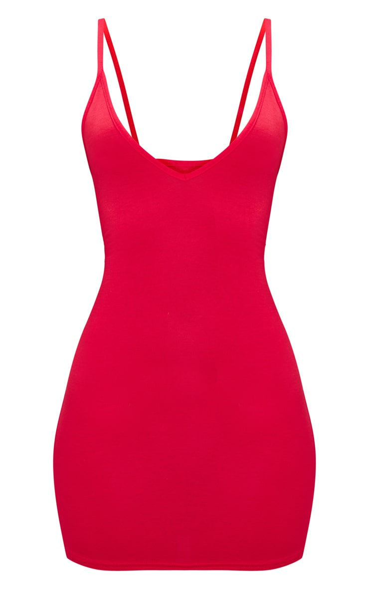 Basic Red Extreme Plunge Strappy Bodycon Dress 3