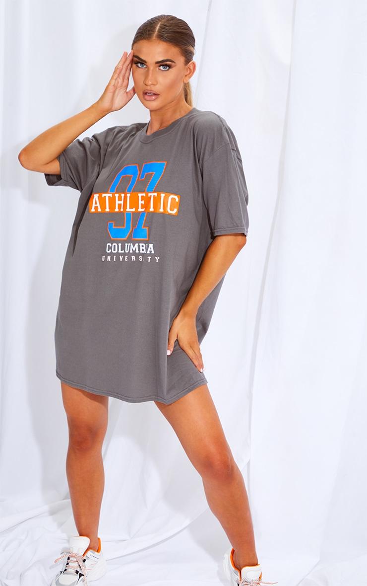 Charcoal & Orange 2 Pack Slogan & Plain T Shirt Dresses 4