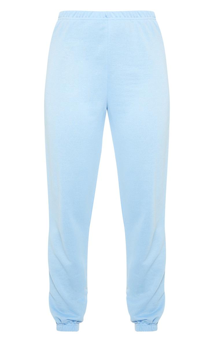 Baby Blue Basic Cuffed Hem Track Pants 3