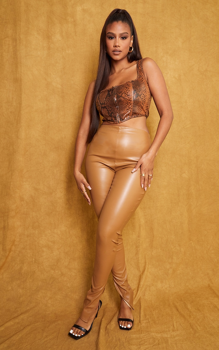 Tan Snake Faux Leather Zip Front Square Neck Crop Corset 3