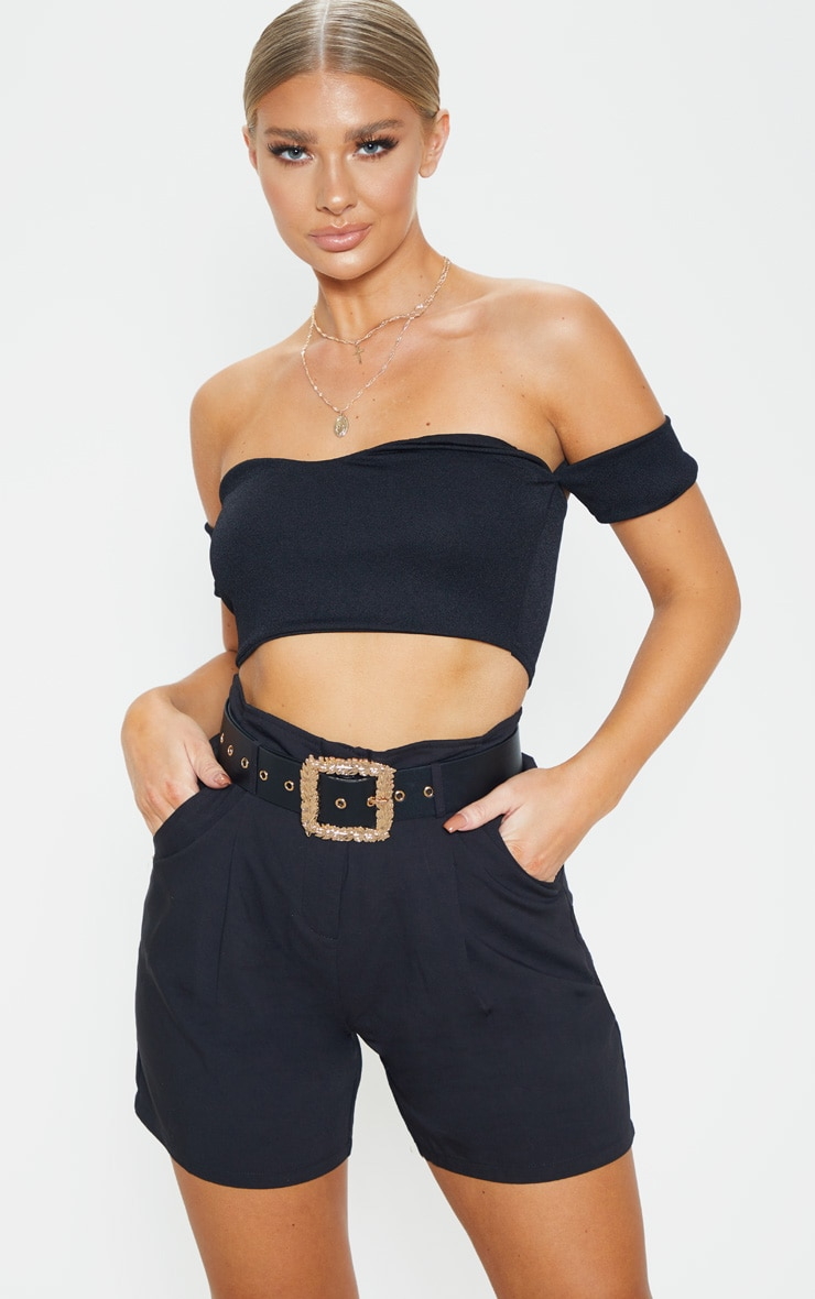 Black Wide Waist Belt With Gold Leaf Effect Buckle 1