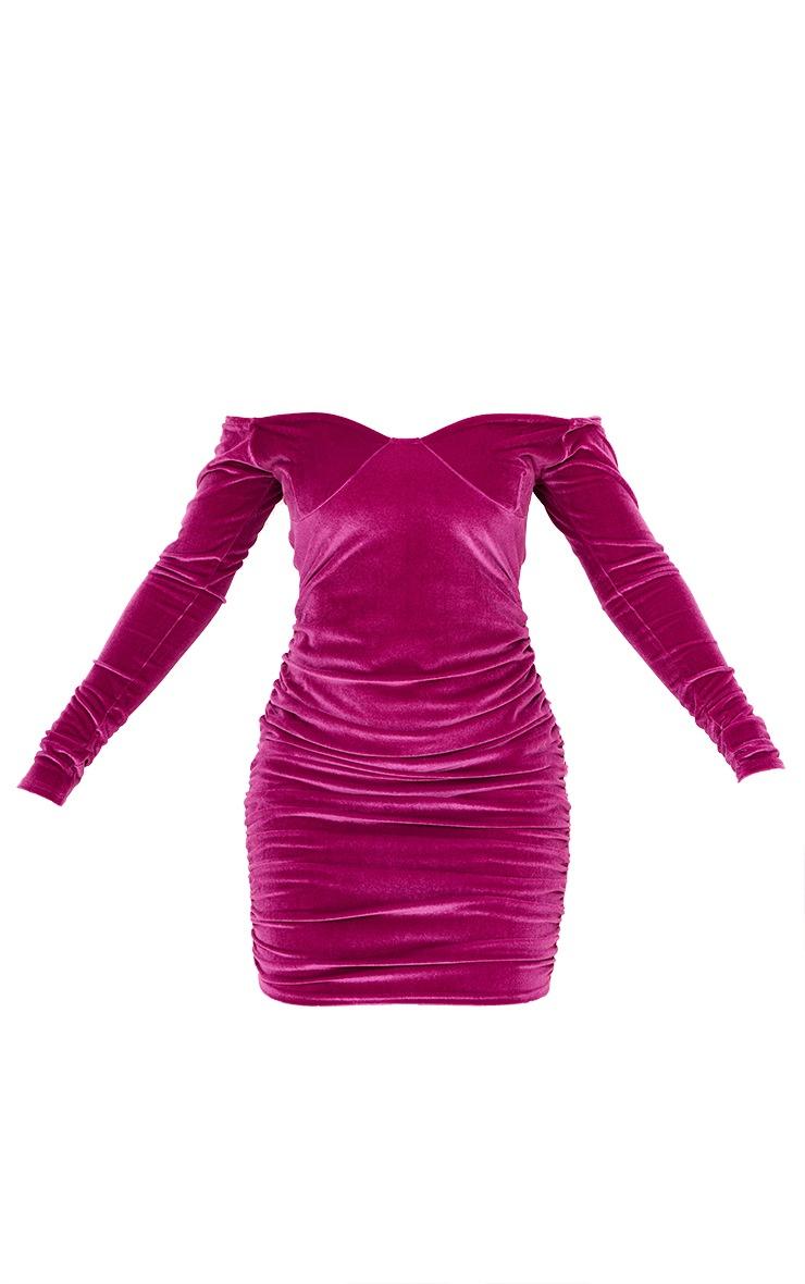 Pink Velvet Cup Detail Bardot Bodycon Dress 5