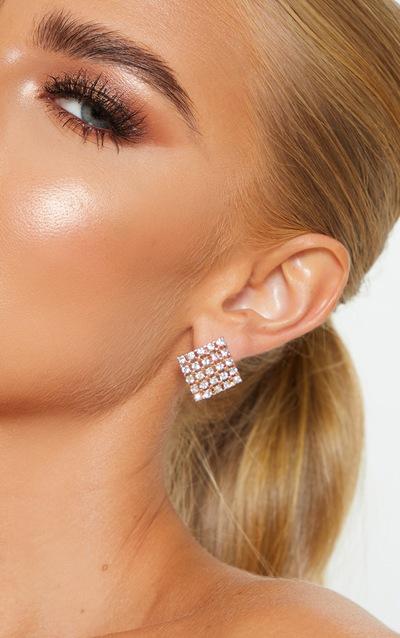 Gold Diamante Square Stud Earrings