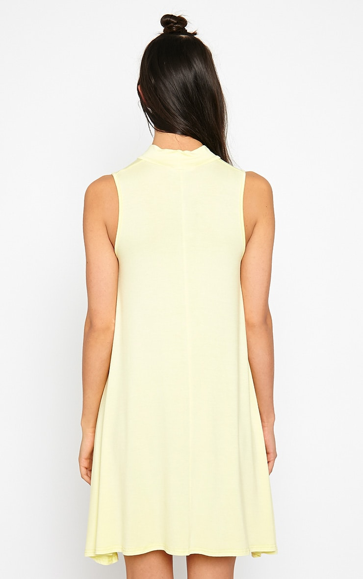 Aishha Lemon High Neck Jersey Swing Dress 2
