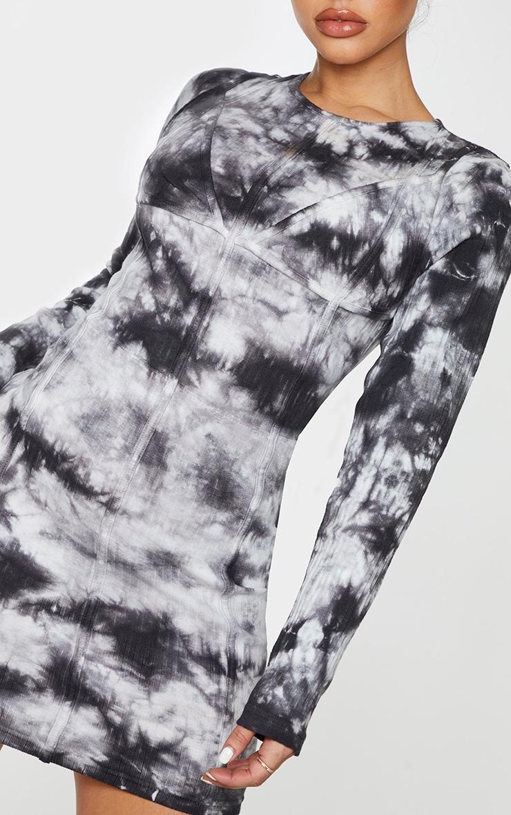 Shape Black Tie Dye Thick Rib Binding Detail Bodycon Dress 4