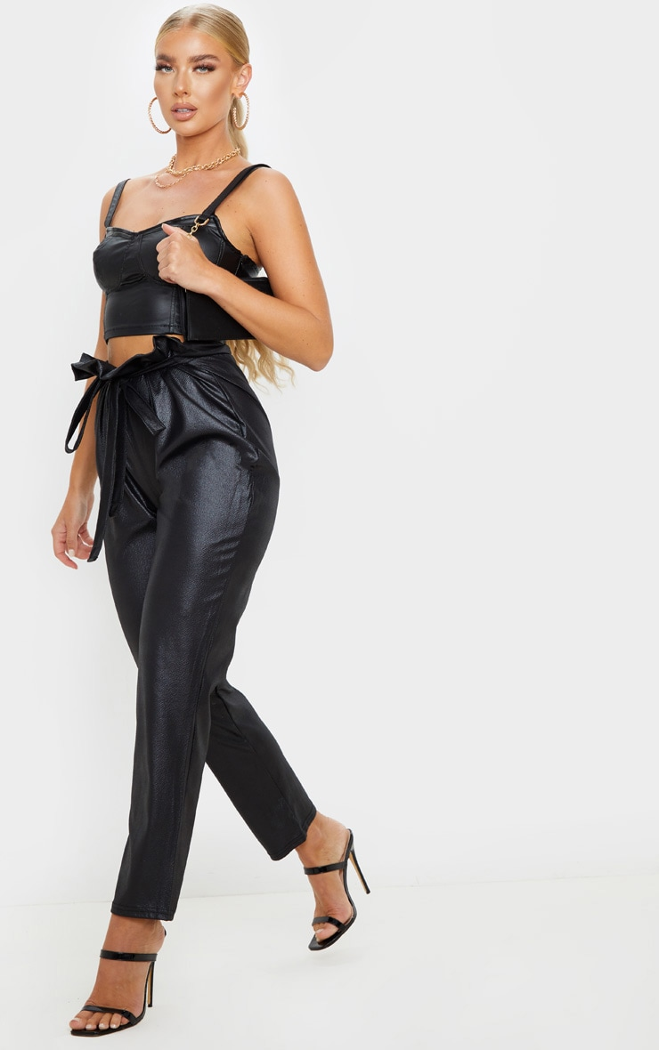 Black Coated Paperbag Waist Trouser 1