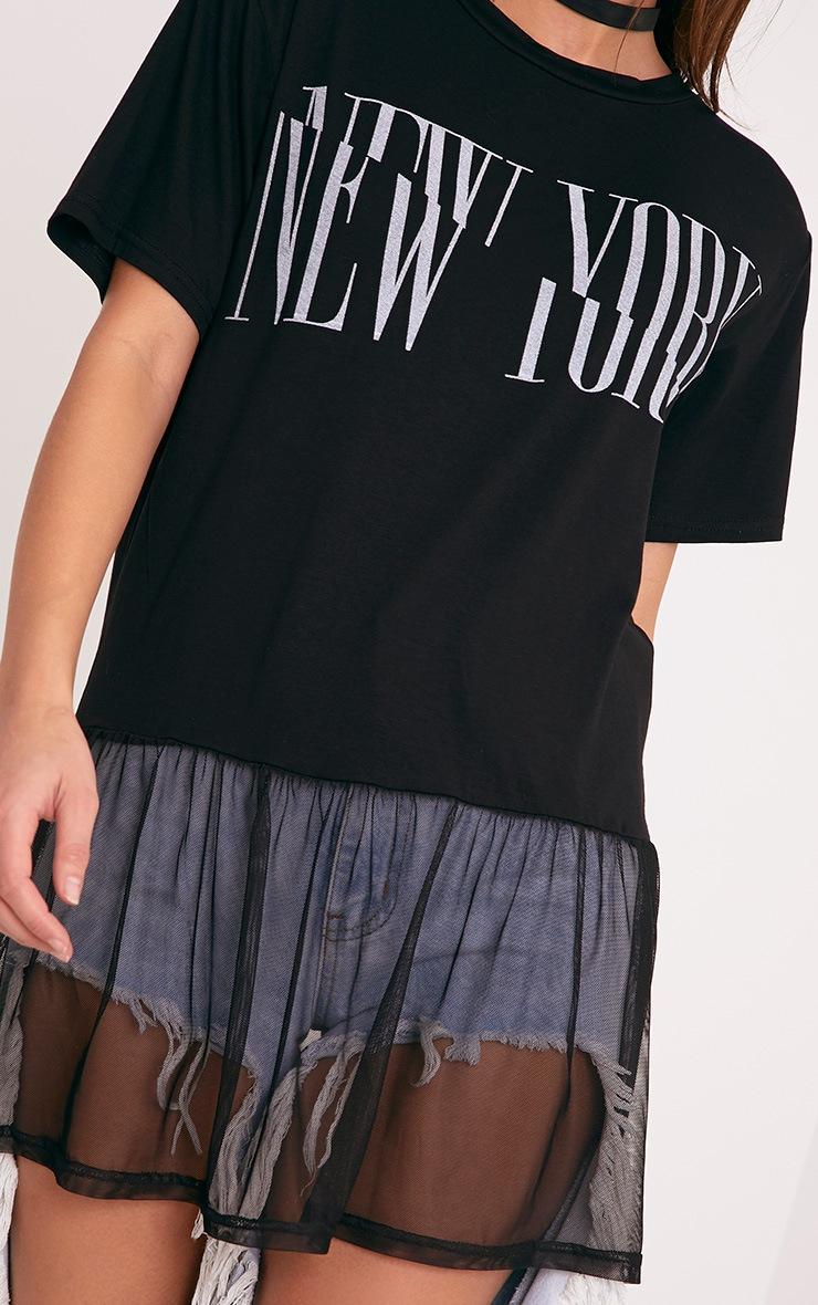 NEW YORK Spliced Slogan Black Mesh Hem T Shirt 5