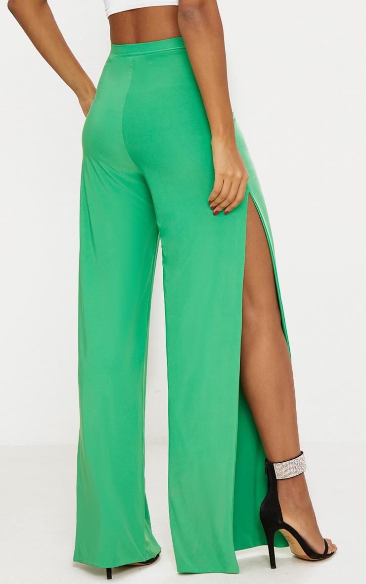 Bright Green Side Split Slinky Trousers 4