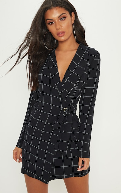 033cecaac75 Black Checked Long Sleeve Blazer Dress