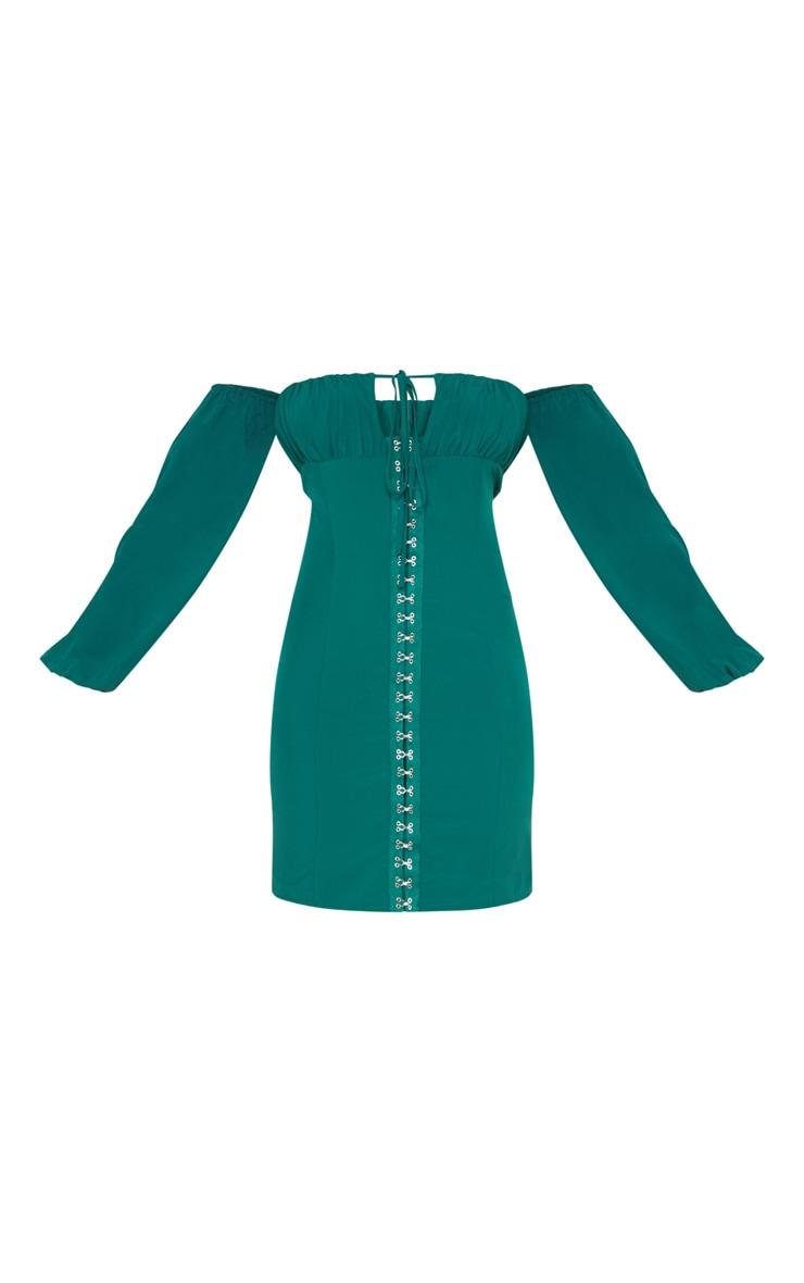 Tall Emerald Green Eyelet Puff Sleeve Bodycon Dress 3