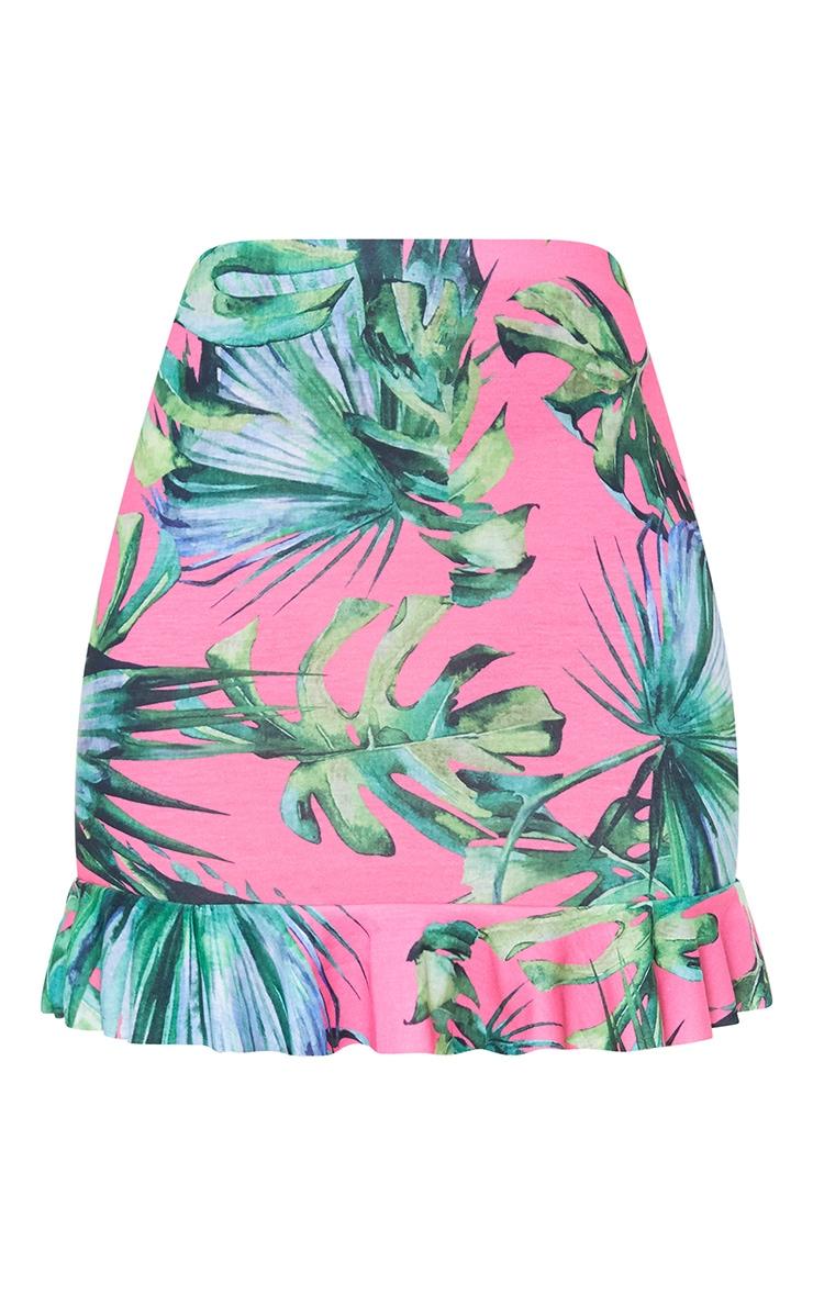 Pink Palm Print frill Hem Mini Skirt 3