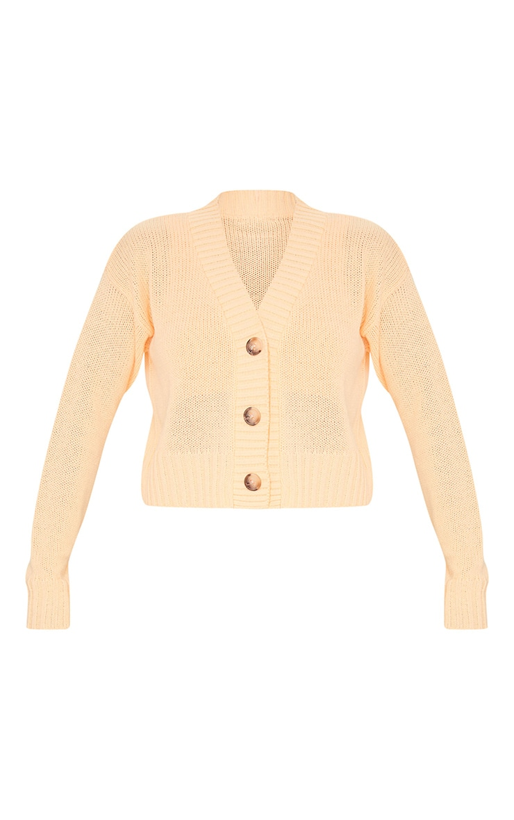 Peach Knitted Button Crop Cardigan 5