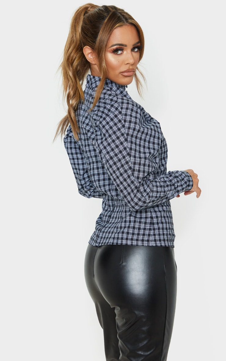 Petite Grey Checked Puff Sleeve Blouse 2