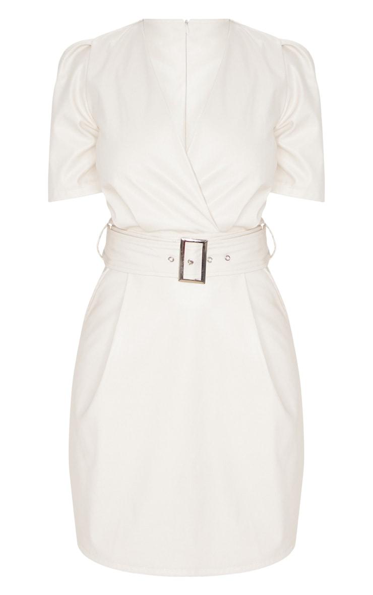 Petite Cream Belted Puff Sleeve PU Dress 3