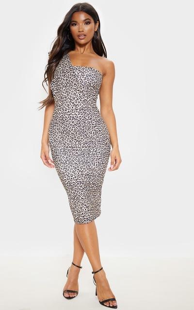 Tan Leopard Print One Shoulder Draped Midi Dress
