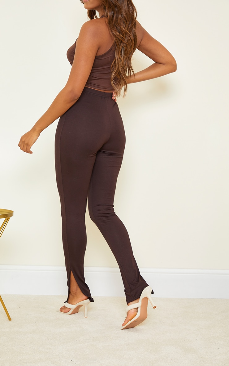 Basic Chocolate Jersey Split Hem Leggings 3