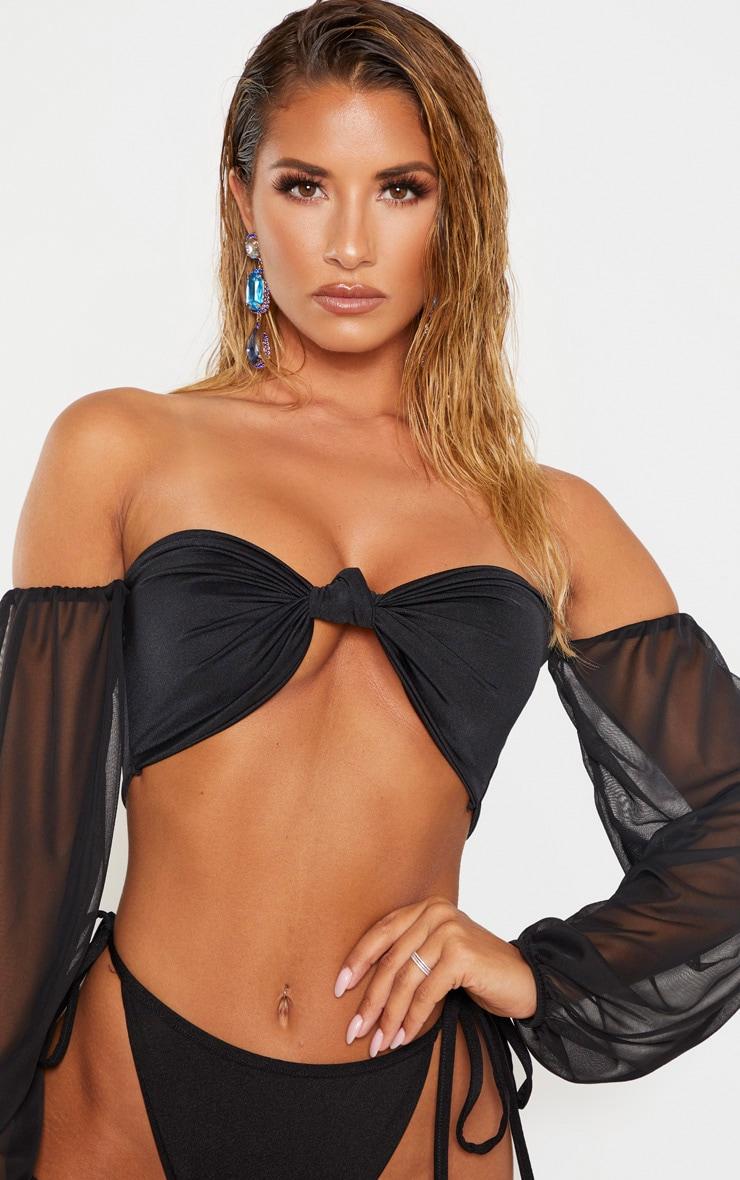 Black Puff Sleeve Strapless Bikini Top 5