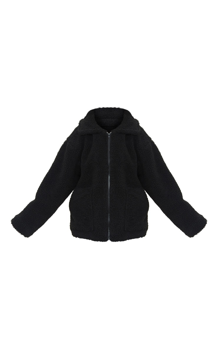 Petite Black Borg Zip Up Oversized Jacket 5