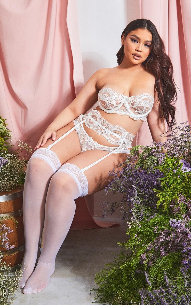 PLT Plus - Ensemble de lingerie blanc à armatures et anneaux 3
