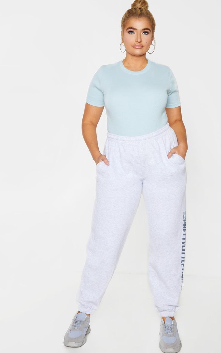 Plus Dusty Blue Thick Rib Cap Sleeve Bodysuit 1