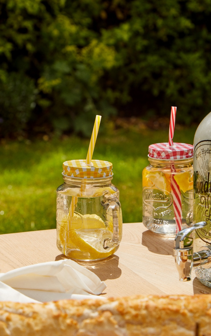 Yellow Gingham Mason Jar 3