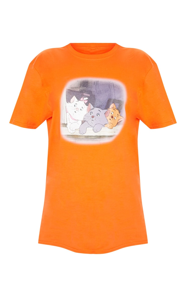Orange Aristocat Printed Oversized T shirt 3